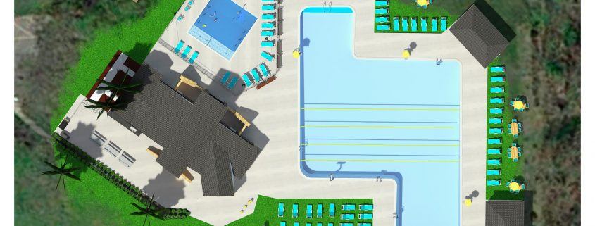 Overview of pool with design elements.